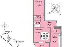 Двухкомнатная квартира 59,41 м2 ЖК Мичурино-Запад на Большой Очаковской 44