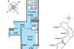 Однокомнатная квартира 48,28 м2 ЖК Мичурино-Запад на Большой Очаковской 44