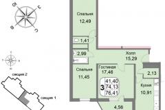 Трёхкомнатная квартира 76,41 м2 ЖК Мичурино-Запад на Большой Очаковской 44