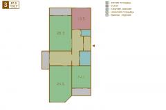 3-комнатная квартира вариант B серии МПСМ