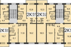 Планировка дома серии 1-447 на 4 подъезда