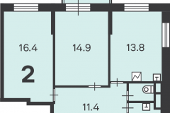 Двухкомнатная квартира 61.1 м2, Матвеевская ул. 11, 121-2