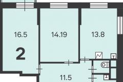 Двухкомнатная квартира 60.9 м2, Матвеевская ул. 11, 141-1