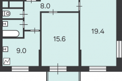 Двухкомнатная квартира 56.4 м2, Матвеевская ул. 11, 146-1