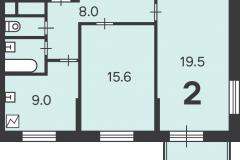 Двухкомнатная квартира 56.2 м2, Матвеевская ул. 11, 154-1
