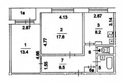 Планировка двухкомнатной квартиры. Серия дома П-55