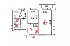 Поэтажный план, двухкомнатная квартира, серия дома И-209А