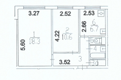 Поэтажный план двухкомнатной квартиры, серия 1606-АМ9 тип А, Веерная ул. дом 3