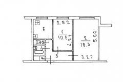 Поэтажный план двухкомнатной квартиры, серия 1606-АМ9 тип Б, Веерная ул. дом 3