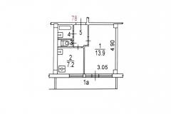 Однокомнатная квартира, планировка I-МГ-601, поэтажный план