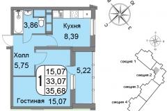 Однокомнатная квартира 35,68 м2 ЖК Мичурино-Запад на Большой Очаковской 44