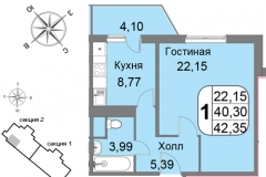 Однокомнатная квартира 42,35 м2 ЖК Мичурино-Запад на Большой Очаковской 44