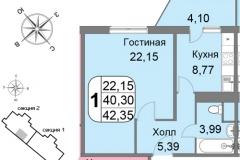 Однокомнатная квартира 42,35 м2 - 02 ЖК Мичурино-Запад на Большой Очаковской 44