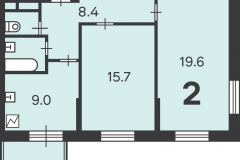 Двухкомнатная квартира 57.1 м2, Матвеевская ул. 11, 126-1