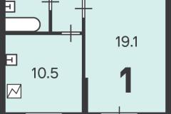 Двухкомнатная квартира 37.7 м2, Матвеевская ул. 11, 74-2