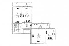 Планировка трёхкомнатной квартиры. Серия дома П-55