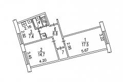 Нежинская-улица-13-планировка-двухкомнатной-квартиры-1а