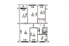 Поэтажный план пятикомнатной квартиры серия дома 1605-АМ9, Веерная ул. дом 3