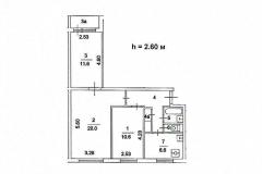 Поэтажный план трехкомнатной квартиры серия дома 1605-АМ9 тип А, Веерная ул. дом 3