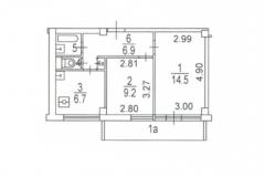 Двухкомнатная квартира 40,4 планировка I-МГ-601, поэтажный план