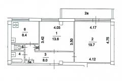 Двухкомнатная квартира 53,3 планировка I-МГ-601, поэтажный план